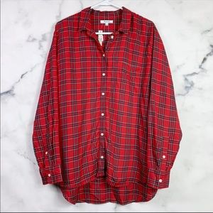 NEW Madewell Red Ex-Boyfriend Oversized Shirt